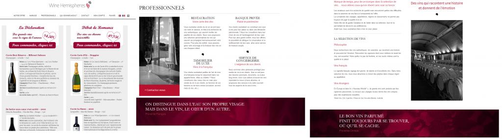 Quelques pages de site e-commerce de cave à vin