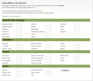 page de calcul de volume