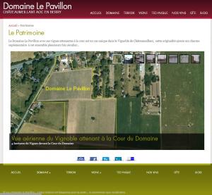 page d'un site de vins